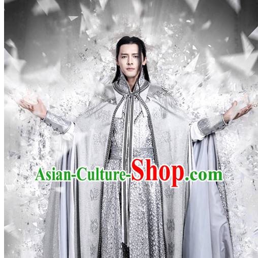 Chinese Ancient Kung Fu Master Hanfu Clothes Garment Complete Set for Men
