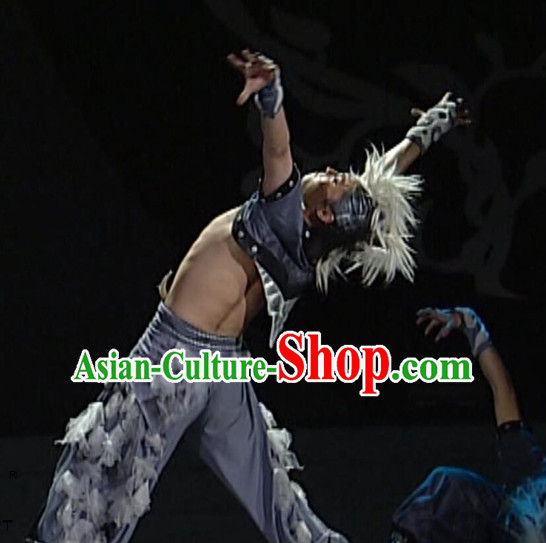 Professional Stage Performance Wolf Dance Costumes Complete Set for Boys or Men