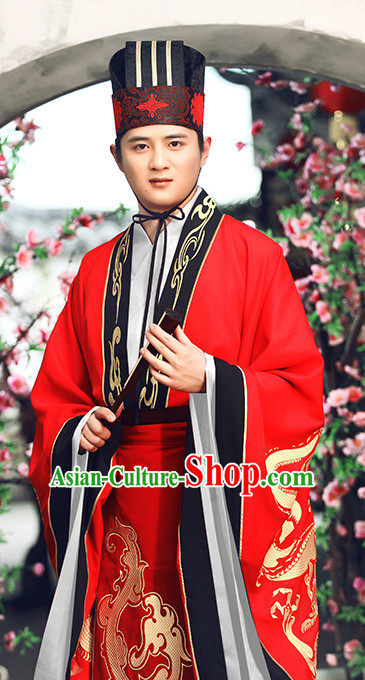 Ancient Chinese Bridegroom Wedding Dresses Traditional Royal Stage Hanfu Classical Dress National Costumes Clothing and Hair Jewelry Complete Set