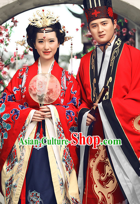 Ancient Chinese Princess and Bridegroom Wedding Dresses Traditional Royal Stage Hanfu Classical Dress National Costumes Clothing and Hair Jewelry Complete Set