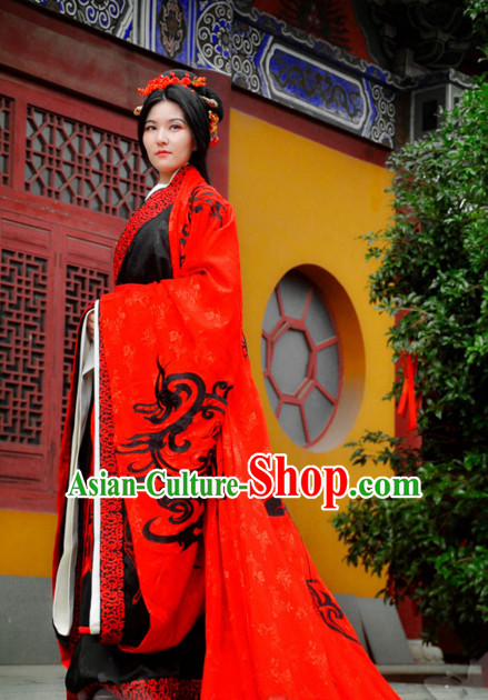 Ancient Chinese Princess Han Dynasty Wedding Dresses Traditional Royal Stage Hanfu Classical Dress National Costumes Clothing and Hair Jewelry Complete Set