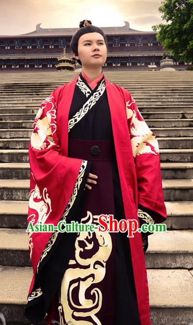 Ancient Chinese Prince Wedding Dresses Hanfu Classical Dress National Ceremonial Costumes Clothing and Crown Complete Set