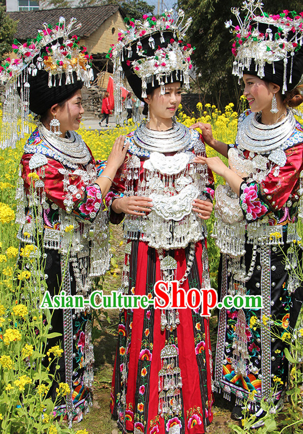 Chinese Miao Princess Clothing Miao Clothes Minority Dresses Ethnic Costumes and Accessories Complete Set for Women