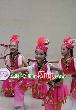 Chinese Dance Costume Ribbon Dance Costumes Fan Dance Dancer Dancing Dresses for Kids
