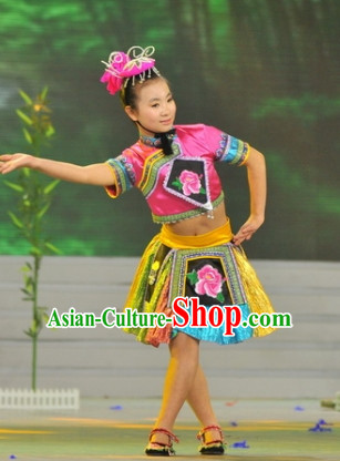Chinese Minority Dance Costume Dance Costumes Fan Dance Umbrella Ribbon Fans Dance Fan Water Sleeve Costume for Women or Children