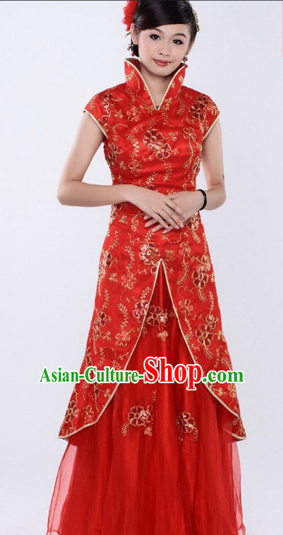 Classical Chinese High Collar Red Dresses