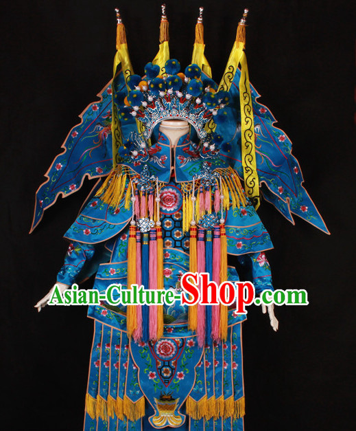 Blue China Beijing Opera Chinese Peking Opera Costume Embroidered Robe Hua Military General Dan Opera Costumes Complete Set