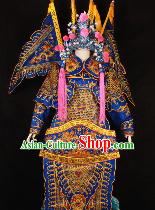 Blue China Beijing Opera Chinese Peking Opera Costume Embroidered Robe Military General Opera Costumes Complete Set