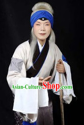 Ancient Chinese Old Women White Long Wigs