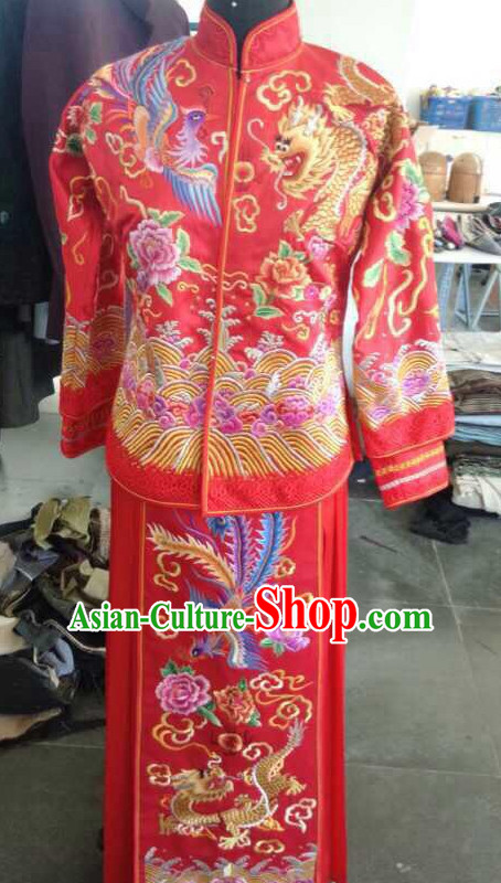 Top China Bridegroom Embroidered Phoenix Wedding Dress Bridal Dresses Complete Set