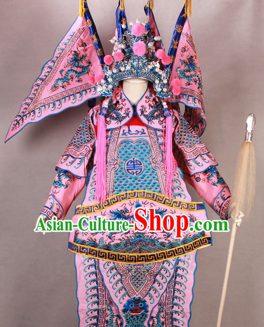 Pink China Beijing Opera Chinese Peking Opera Costume Embroidered Robe Military General Opera Costumes Complete Set