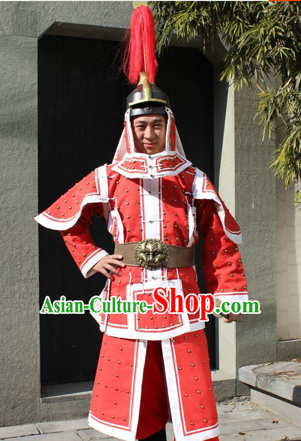 Qing Dynasty Official General Body Armor Costumes and Hat Complete Set for Men