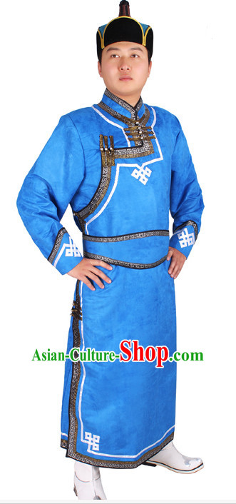 Mongolian Men Minority Mongol Mongolia Robe and Hat Complete Set