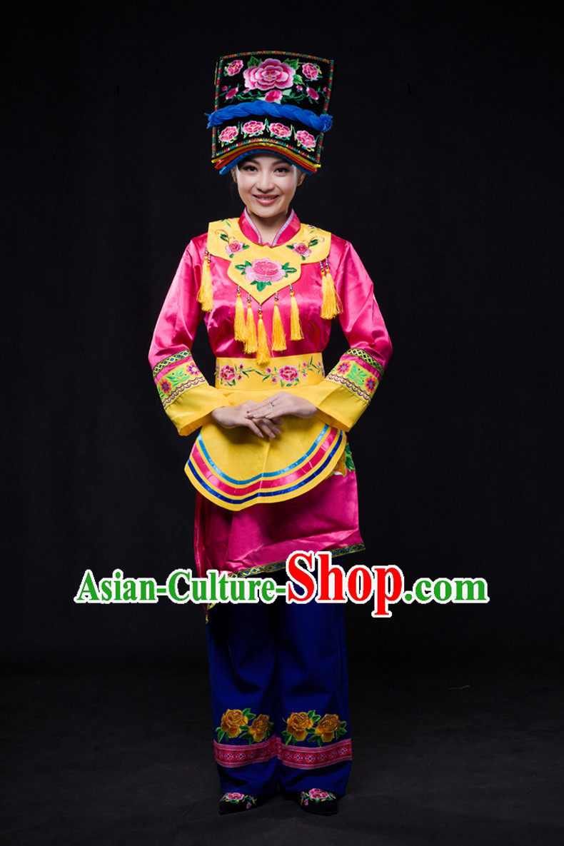 Chinese Minority Women Dresses Ethnic Clothing Minority Dance Costume Minority Dress Complete Set