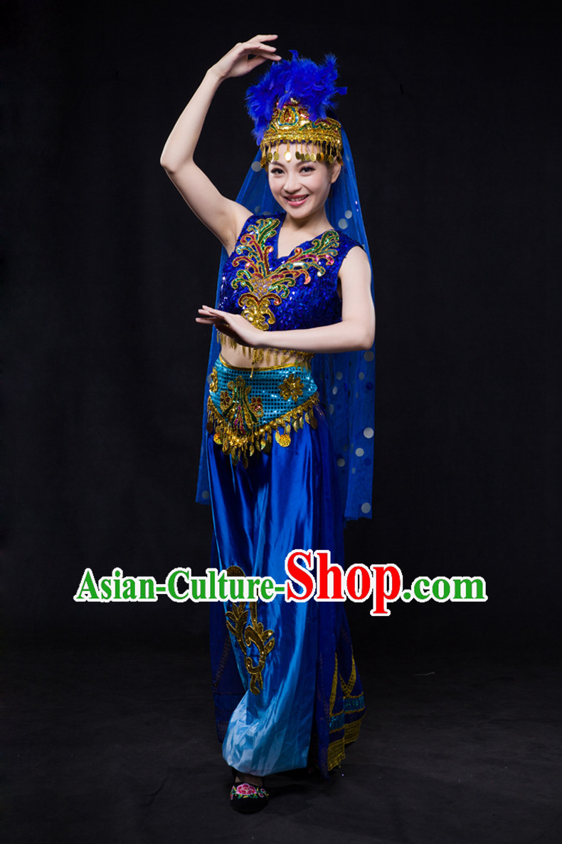 Chinese Xinjiang Yi Lao Miao Zhuang Bai Yao Minority Women Dresses Ethnic Clothing Minority Dance Costume Minority Dress Complete Set