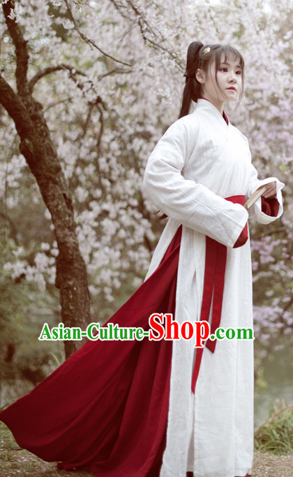 Chinese Han Dynasty White Hanfu Drama Performance Festival Celebration China Film Beauty Dress Rental Garment and Headpieces