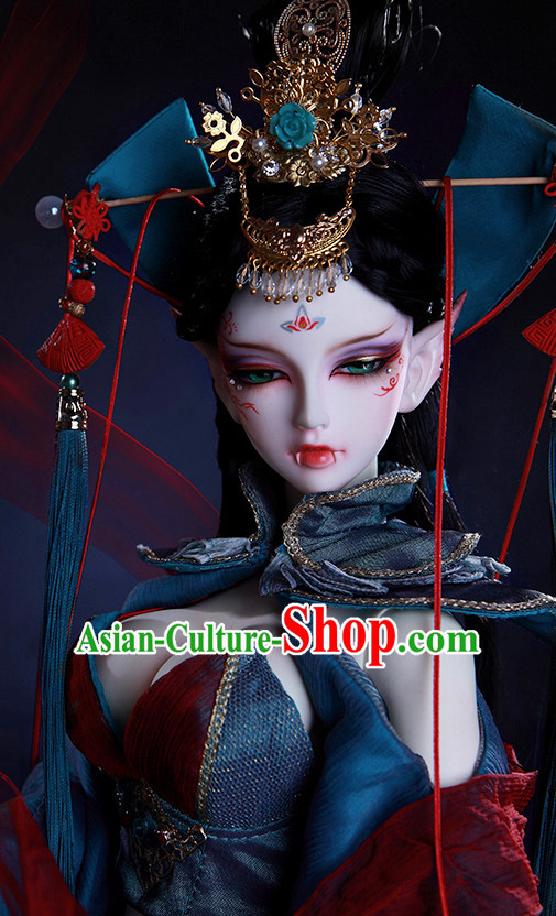 Ancient Chinese Empress Black Wigs and Hair Pins
