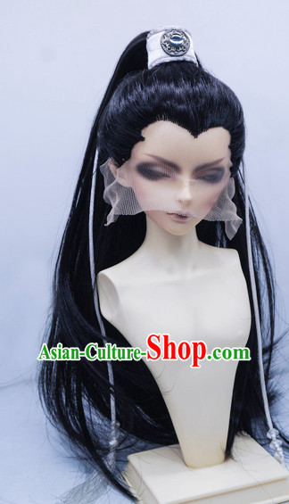 Ancient Chinese Long Black Wigs for Men