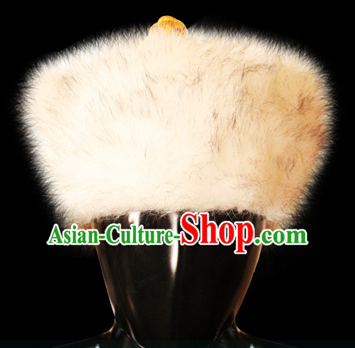 Traditional Chinese Mongolian Emperor Fur Hat