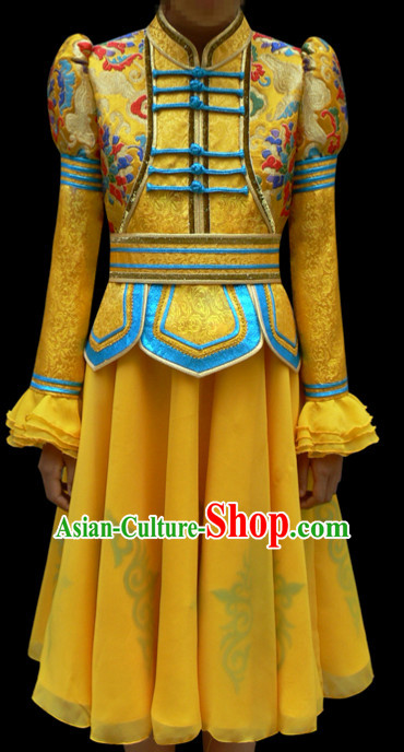 Yellow Mongolian Minority Empress Mongol Mongolia Princess Clothing Ethnic Traditional Costumes Complete Set