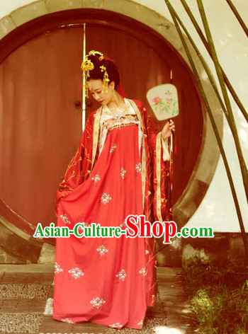 Chinese Tang Dynasty Wedding Clothes Classical Dance Drama Performance Hanfu Chinese Hakama Traditional Bridal Dress Quju Supreme Ancient Chinese Costume Complete Set