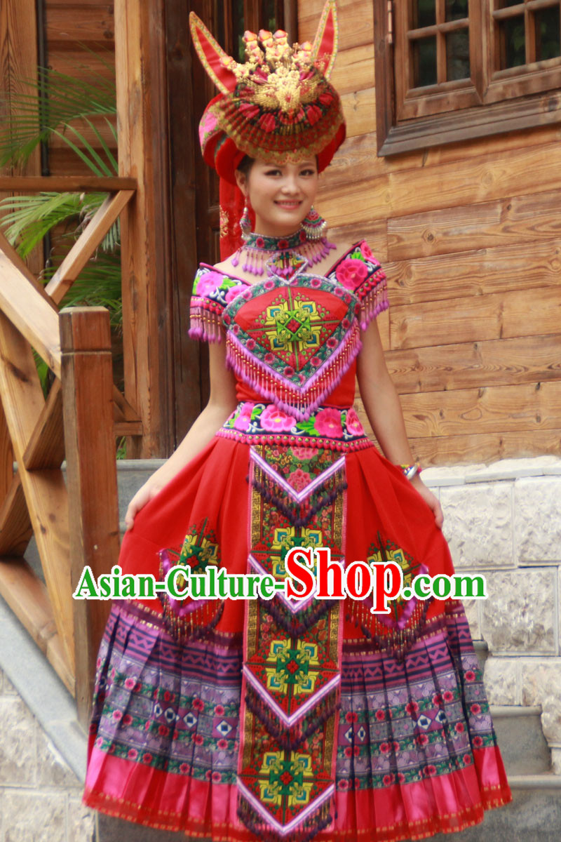 Hmong Minority Dresses Miao Clothing Ethnic Miao Minority Dance Costume Minority Dress Dance Miao Costumes Complete Set