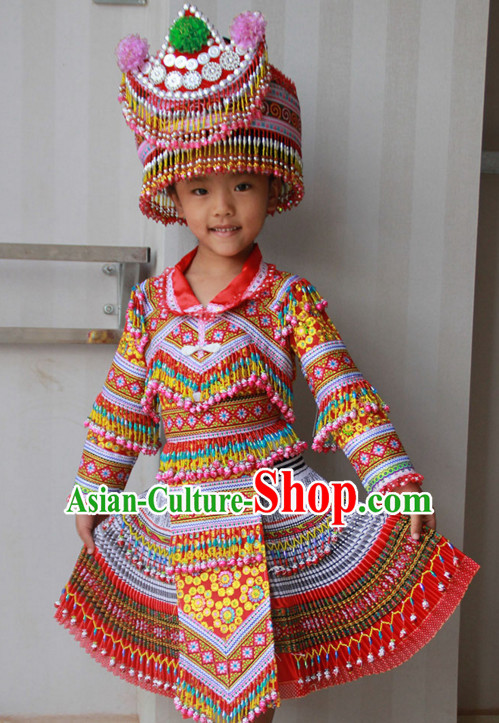Hmong Minority Dresses Miao Clothing Ethnic Miao Minority Dance Costume Minority Dress Dance Miao Costumes Complete Set for Kids