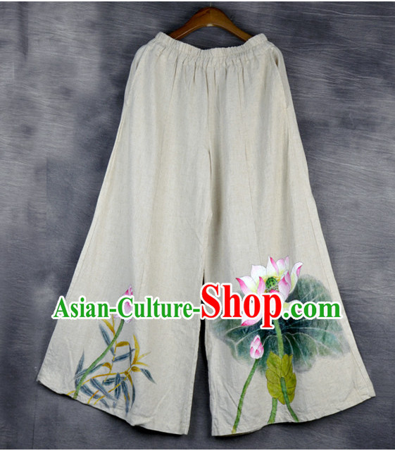 Chinese Classical Hands Painted Lotus Pants