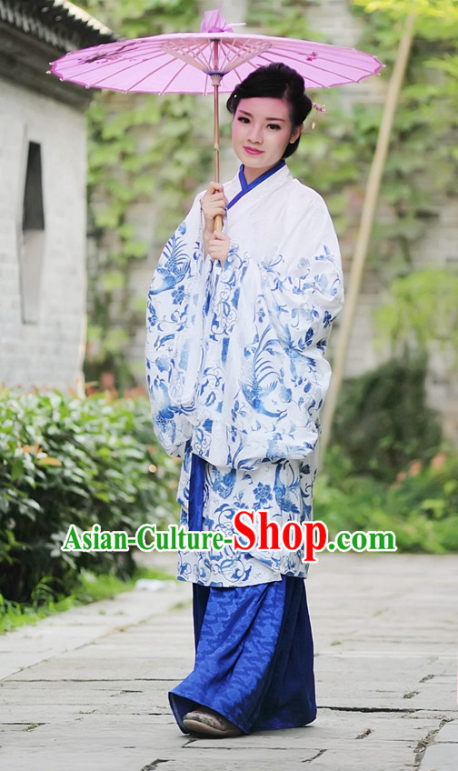 White Blue Ancient Chinese Han Dynasty Dresses Hanfu Quju Clothing Hanbok Kimono Complete Set for Women