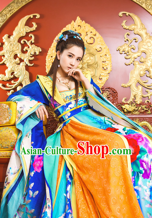 Ancient Chinese Aristocrat Clothing and Headpieces Complete Set for Women Girls