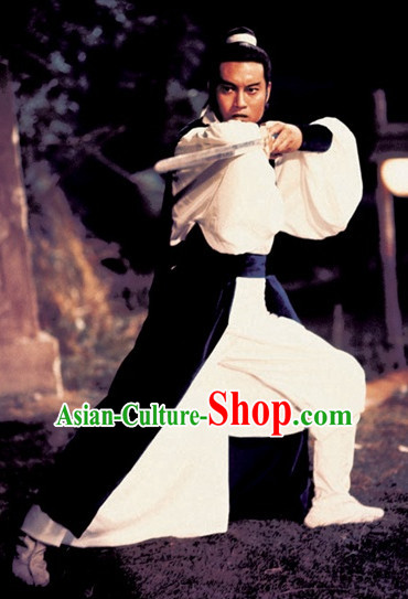 Chinese Ancient Jade Tiger Swordsman Clothing Knight Costumes and Bamboo Hat Complete Set for Men