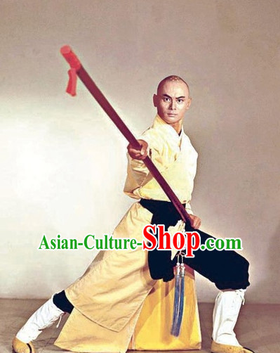 Chinese Ancient Kung Fu Monk Costumes Complete Set for Men