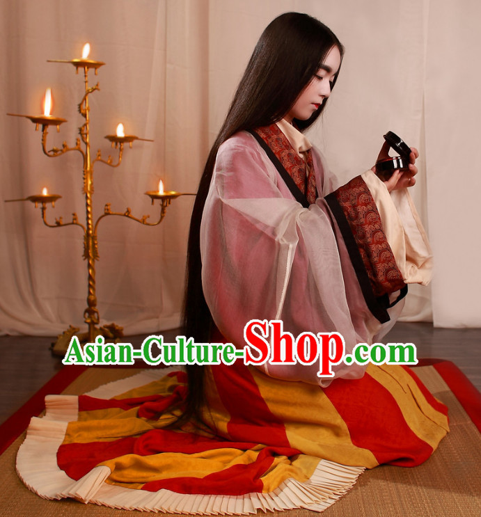 Chinese Ancient Han Dynasty Palace Princess Hanfu Clothing Complete Set