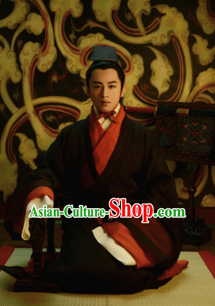 Chinese Ancient Han Dynasty Men Clothing and Hat Complete Set