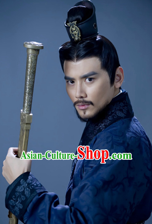 Ancient Chinese Superhero General Hair Hat Wig Hair Accessories Headpiece Headdress for Men