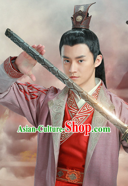Ancient Chinese Superhero Swordsman Hair Hat Wig Hair Accessories Headpiece Headdress for Men