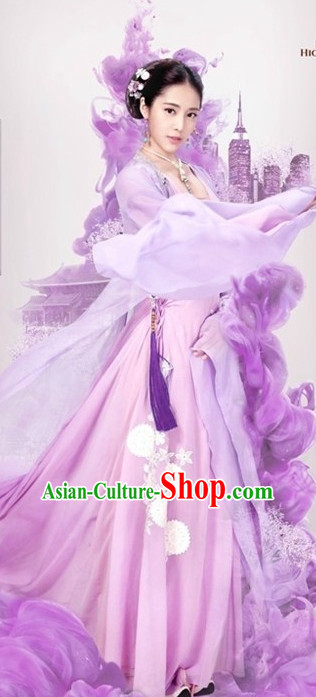 Ancient Chinese Royal Highness Purple Beauty Clothing and Hair Accessories Complete Set for Women