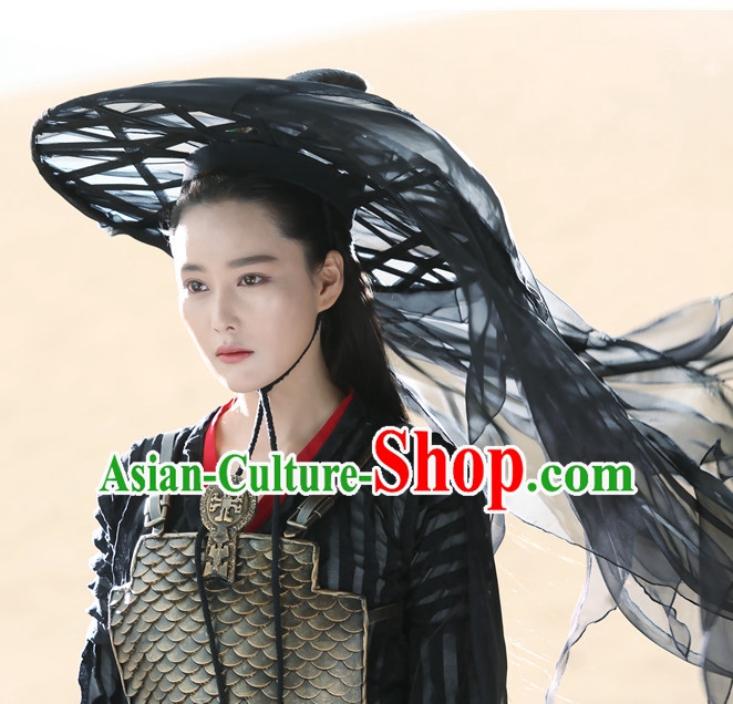 Ancient Chinese Pure Black Long Veil Bamboo Hat