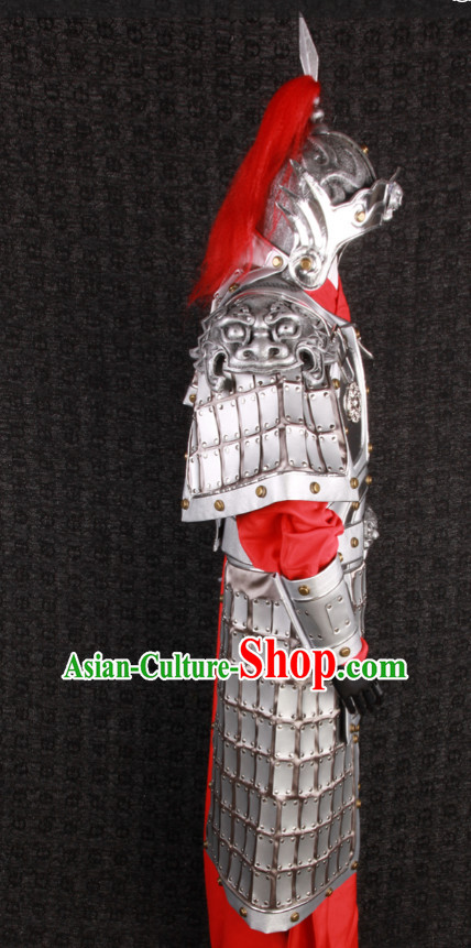 China Ancient General Hero Body Armor Costumes and Tiger Helmet Complete Set for Men or Boys