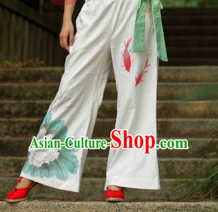 Chinese Classical Hands Painted Mandarin Pants