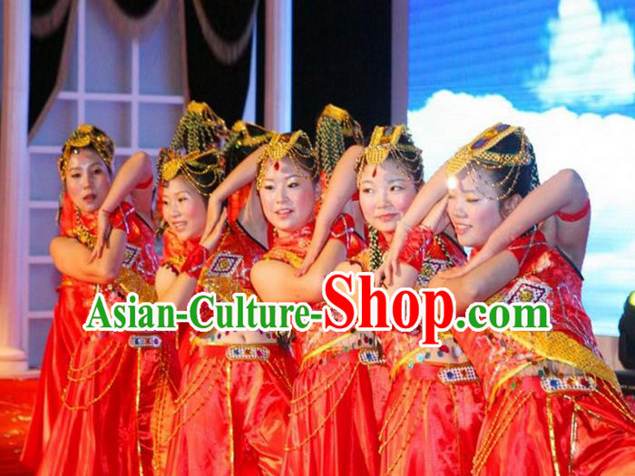 Traditional Chinese Yangge, Fan Dancing Wholesale Costume, Folk Dance Yangko Costume, Traditional Chinese Tibetan Nationality Dancewear for Women