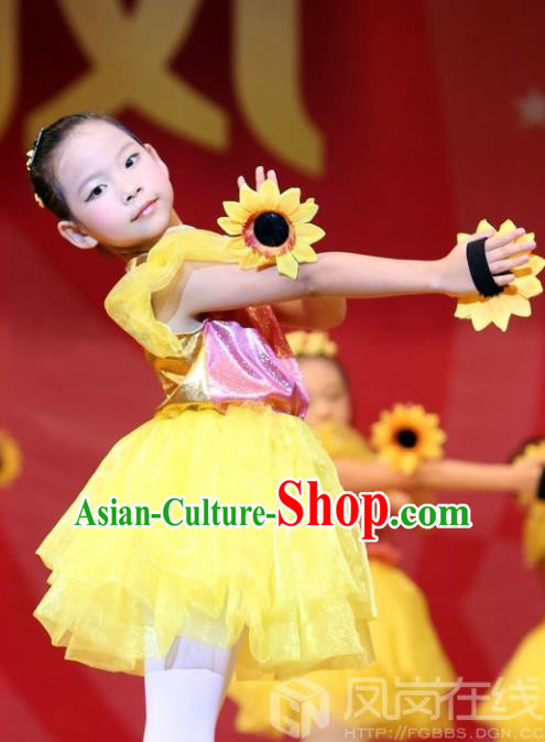 Traditional Chinese Yangge, Children Kindergarten Fan Dancing Wholesale Costume, Folk Dance Yangko Costume Dancewear for Kids
