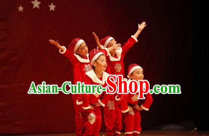 Traditional Chinese Yangge, Children Kindergarten Fan Dancing Wholesale Costume, Folk Dance Yangko Costume Christmas Dancewear for Kids