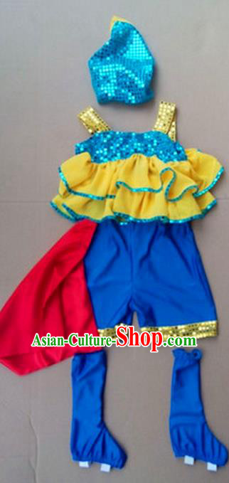 Traditional Chinese Yangge, Children Kindergarten Fan Dancing Wholesale Costume, Folk Dance Yangko Costume, Traditional Chinese Dancewear for Kids