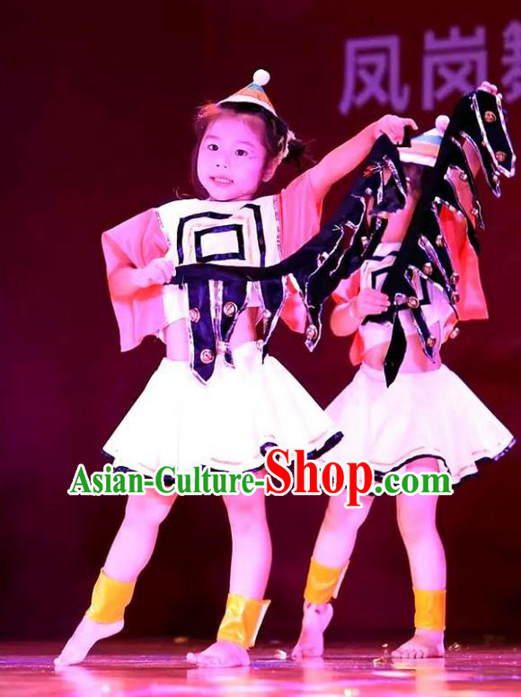 Traditional Chinese Yangge, Children Kindergarten Fan Dancing Wholesale Costume, Folk Dance Yangko Costume, Traditional Chinese Miao Nationality Dancewear for Kids