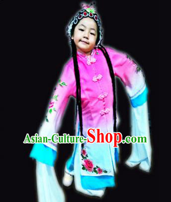 Traditional Chinese Yangge, Children Kindergarten Fan Dancing Wholesale Peking Opera Costume, Folk Dance Yangko Costume, Traditional Chinese Peking Opera Dancewear for Kids