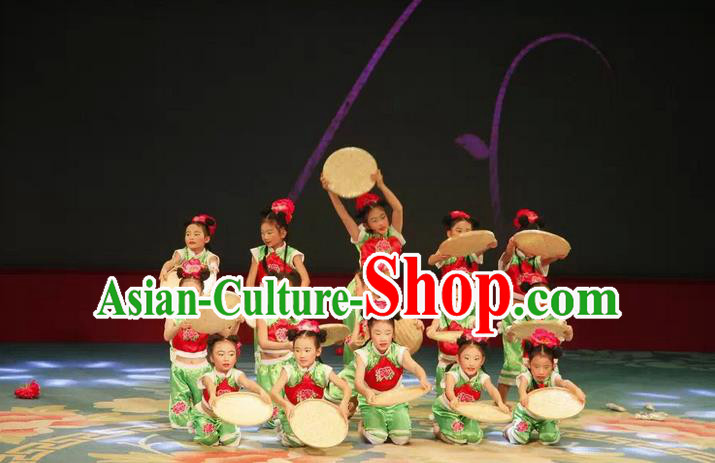 Traditional Chinese Yangge, Children Fan Dancing Wholesale Costume, Folk Dance Yangko Costume, Traditional Chinese Dancewear for Kids