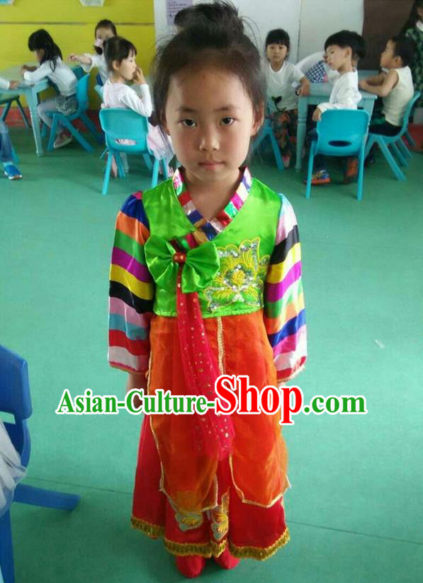 Traditional Chinese Yangge, Children Fan Dancing Wholesale Costume, Folk Dance Yangko Costume, Traditional Chinese Koreans Nationality Dancewear for Women