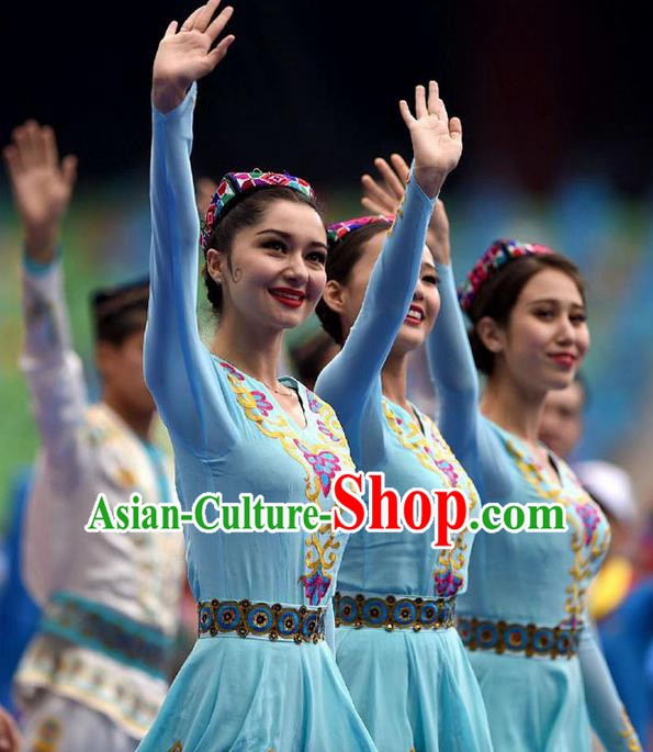 Traditional Chinese Yangge, Fan Dancing Wholesale Costume, Folk Dance Yangko Dance Costume, Traditional Chinese Uyghur Nationality Drums Dancewear for Women