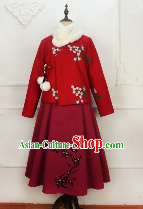 Traditional Classic Women Clothing, Traditional Chinese Classic Woolen Dress Embroidered Pleated Skirt, Chinese Han Dynasty Restoring Ancient Wool Long Skirt for Women